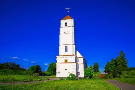 Belarus, the Holy-Transfiguration Orthodox Church, the former Calvinist cathedral against the blue sky in the city of Zaslavl Stock Photo