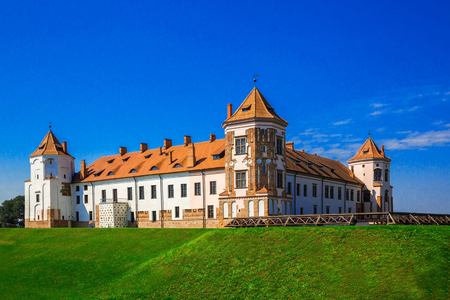 Mir Castle, Belarus - August 6, 2016: Medieval architecture, heritage, history, editorial. 06.08.2016 Editorial