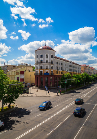 Minsk, Belarus, Street Nyamiha modern architecture on the background of the blue sky, 10 06 2015 Editorial