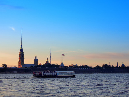 view of the Peter and Paul Fortress at sunset, the Neva River Stock Photo