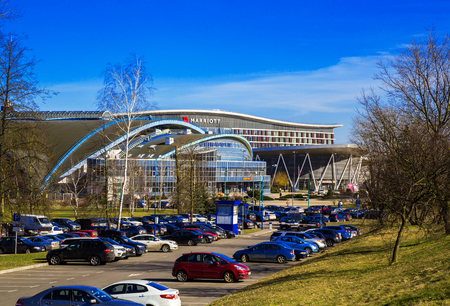 minsk: Minsk, Belarus - March 23, 2017 football arena on the Avenue of the Winners modern architecture against the blue sky, panorama, edition Editorial