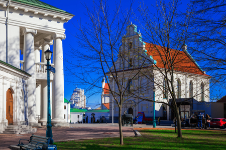 Minsk, Belarus, the building of the Childrens Philharmonic and the Town Hall on Freedom Square. 12042017, editorial Editorial