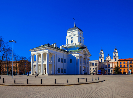 Minsk, Belarus, Roman Catholic Church The Cathedral of the Virgin Mary and the Town Hall building near Freedom Square. 12042017, editorial