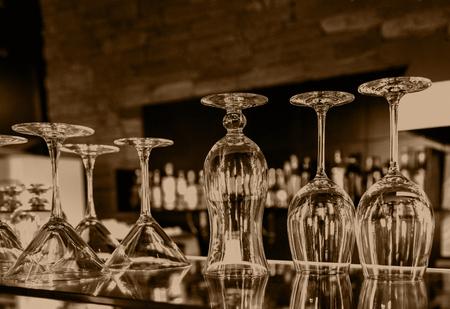 Set of glass goblets, barman tools, equipment set, bar, retro, selective focus