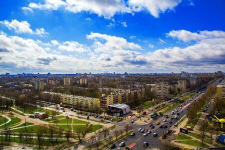lug: Minsk, Belarus, the architectural complex Zeleny Lug, Logoyskiy trakt street April 15, 2017, urban architecture, top view, edition