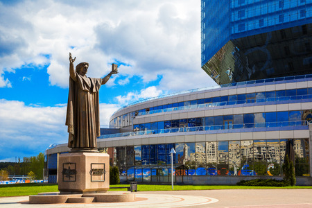 Belarus, Minsk, 11 May; 2017, a monument to Frantsuzsku Skorina against the backdrop of the National Library, Independence Avenue, architecture; Spring; Editorial
