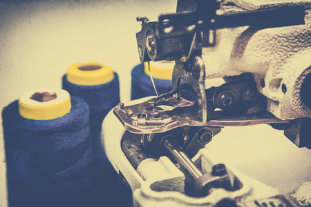 overlock, sewing machine. Making clothes in the workplace. small business concept Stock Photo