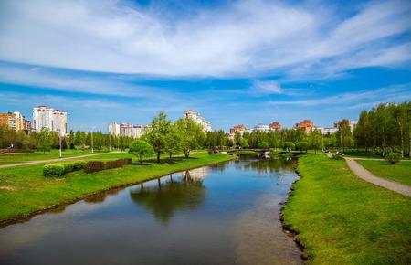 Minsk, Belarus, modern architecture and city park along Gorodetska Street, administrative complex