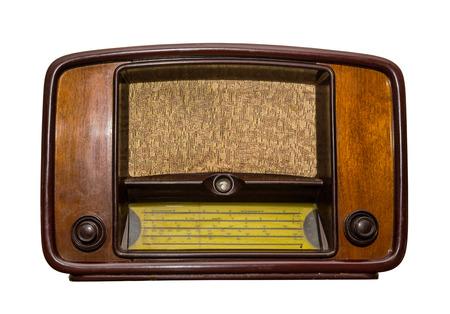 old radio on white background. isolated, retro style