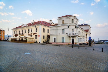 MINSK, BELARUS - 15042018: Freedom Square in the upper city, old buildings in the historical center of the city, editorial Editorial