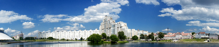 Minsk, Belarus, 05-25-2018 years: Panoramic view of the modern white building on Starozhovskoj Street, view of the Nemigu with the River Svisloch, editorial