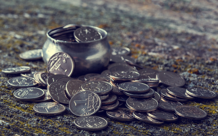 Russian money coins on old wooden surface, penny, metal, retro style, selective focus,