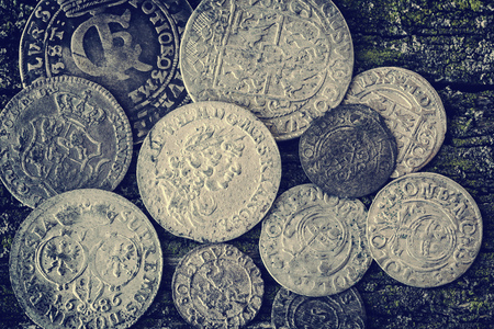 old money of the Grand Duchy of Lithuania, Poland, Belarus, tymp, coins, metal, retro style, selective approach, retro style, top view Фото со стока