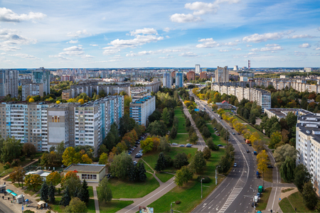 Minsk, Belarus, 30-09-2018, modern architecture on the avenue of the newspaper Pravda and Golubev street against the sky, new houses, view from above, panorama, editorial