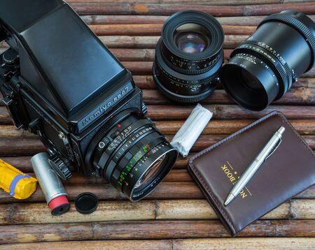 Minsk, Belarus - May.13. 2016: Medium format analog camera, two lenses, Photo Equipment. 13052016, editorial 写真素材