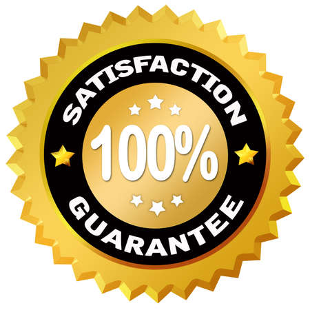 100 percent satisfaction gurantee label photo