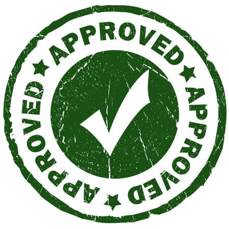 Approved green grunge stamp isolated over white photo