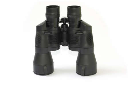 Black binoculars isolated over white photo