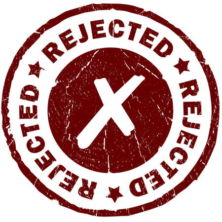 refused: Rejected red grunge stamp over white