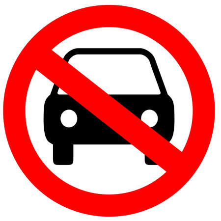 prohibido: Ning�n signo aislado sobre blanco de aparcamiento