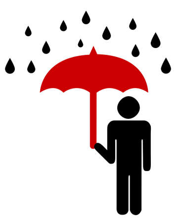 repulse: Security icon with man and umbrella