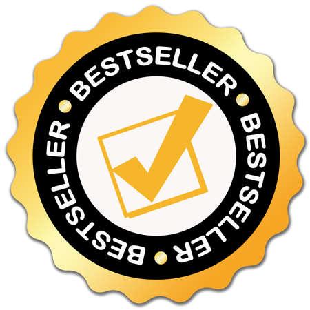 vendedores: Pegatina de bestseller dorada sobre blanco  Foto de archivo