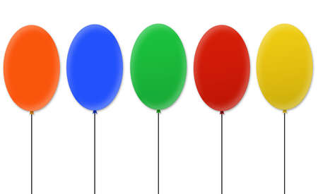elliptic: Blank colored balloons isolated over white