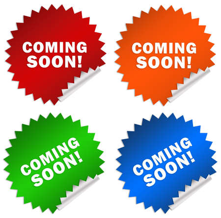 Coming soon stickers isolated on white photo