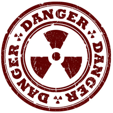 Danger radiation sign isolated over white photo