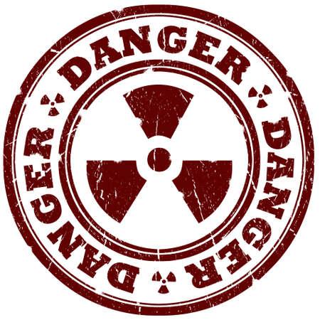 Danger radiation sign isolated over white Stock Photo