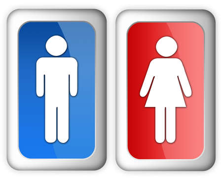 Man woman restroom sign over white Stock Photo - 6166687