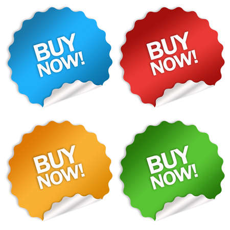Buy now sticker over white Stock Photo - 6178673
