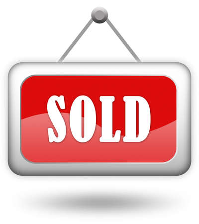 Sold red sign over white Stock Photo - 6178667