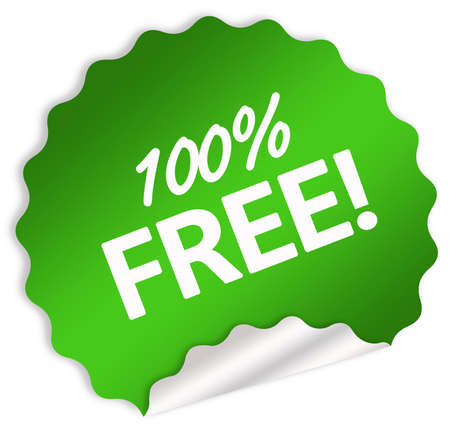 100 percent free sticker isolated over white photo