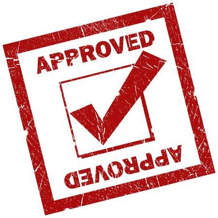 verify: Approvato quadrato rosso segno isolato over white