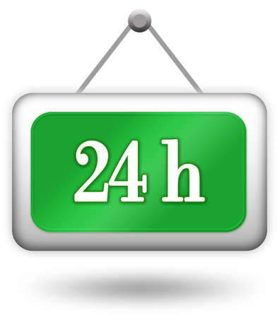 Open twenty four hour sign over white Stock Photo - 6190712