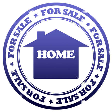 illustration for advertising: Home for sale stamp