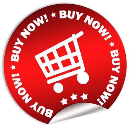 Buy now red sticker isolated over white Stock Photo - 6250909