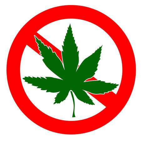 proibido: sem drogas assinar com folhas de cânhamo Imagens