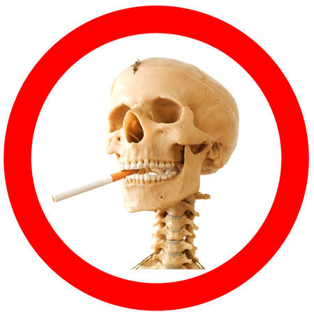 Smoking kills sign with skeleton photo