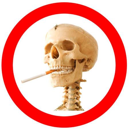 no smoking sign: Smoking kills sign with skeleton Stock Photo