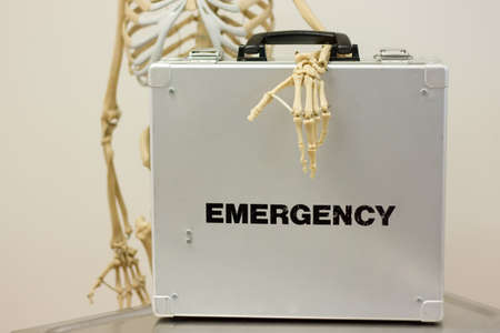 emergency case: Late help concepth with skeleton and emergency case