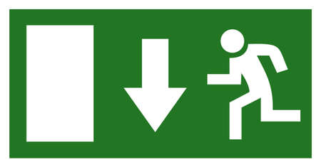 firealarm: Emergency exit sign isolated on white Stock Photo