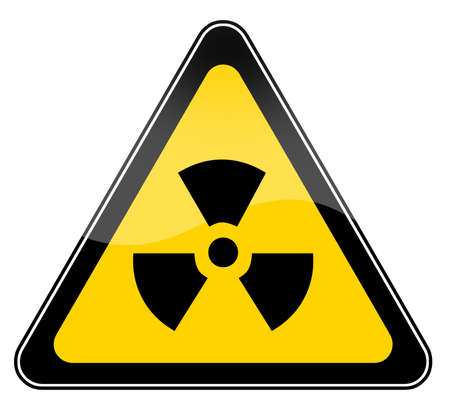 Radiation sign isolated over white photo