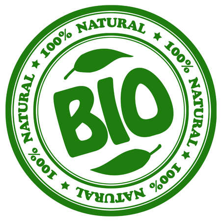 warning label: 100 persent natural bio stamp