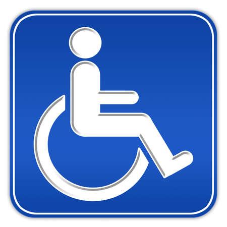 personne handicap�e: Signe de handicap carr� bleu avec fauteuil roulant  Banque d'images