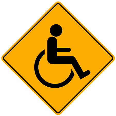 Disabled person warning sign photo