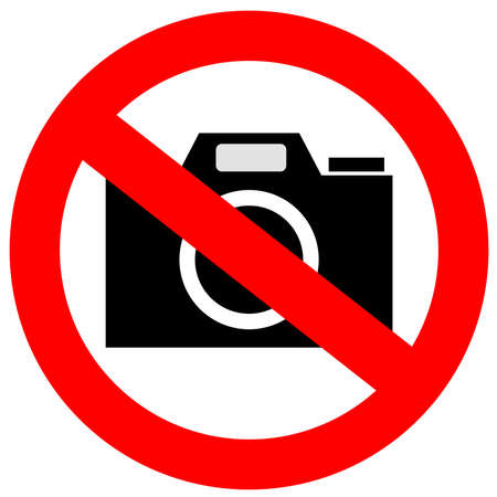 photography logo: No camera sign Stock Photo
