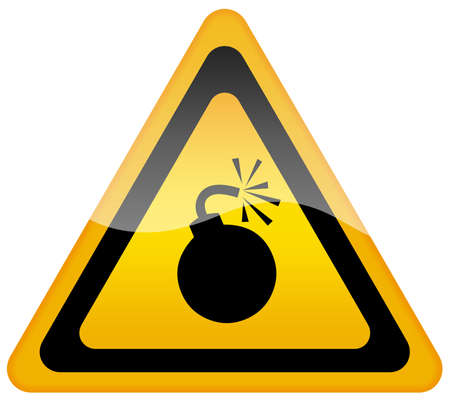 triangular warning sign: Bomb warning sign