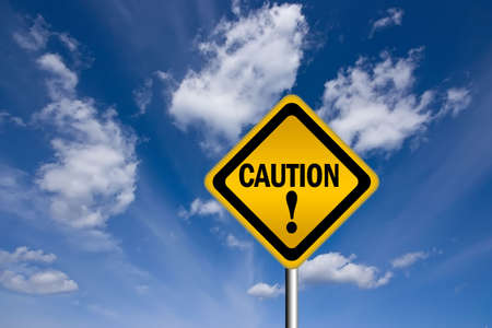 note of exclamation: Caution warning sign Stock Photo